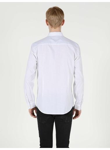 Colin's Colin'S Pamuklu Cepli Dar Kesim Uzun Kol Erkek Gömlek Beyaz